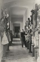 Arrangement of the museum exhibition in Sanok castle, 1935. Aleksander Rybicki, one of the founders of the museum, stands at the far side
