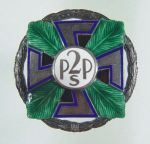 Officer's memorial badge of the 2nd Regiment, a manufacture of W. Gontarczyk, Miodowa street 19, Warsaw, silver, enamel