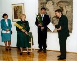 Vernissage of the exhibition of Józef Jarema's and Maria Sperling's painting, 1995. Stand from the left: a director Wiesław Banach, Christian Leprette, Carina Leprette and Irena Śnieżek (a translator)