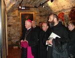 Opening of the exhibition THE TREASURES OF THE FRANCISCANS MONASTERIES organized in 630 anniversary of arriving of the Franciscan monks to Sanok, 2007. Standing from the left: a priest bishop Adam Szal, a priest prelate Feliks Kwaśny and co-organizer of the exhibition father Stanisław Glista OFMConv
