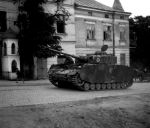 German tank PzKpfw IV Ausf. H repaired in Sanok Wagon Factory, Sanok, Jagiellonska street, photograph of Z. Beksinski from 1943